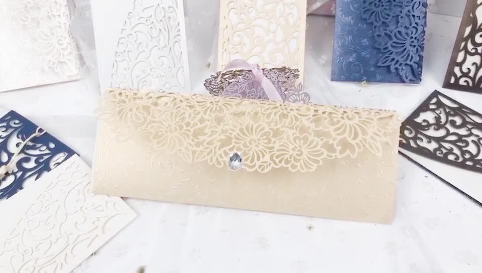 Thri doble tiempo brillo grabado láser Floral oro perla de papel Tarjeta de invitación a boda