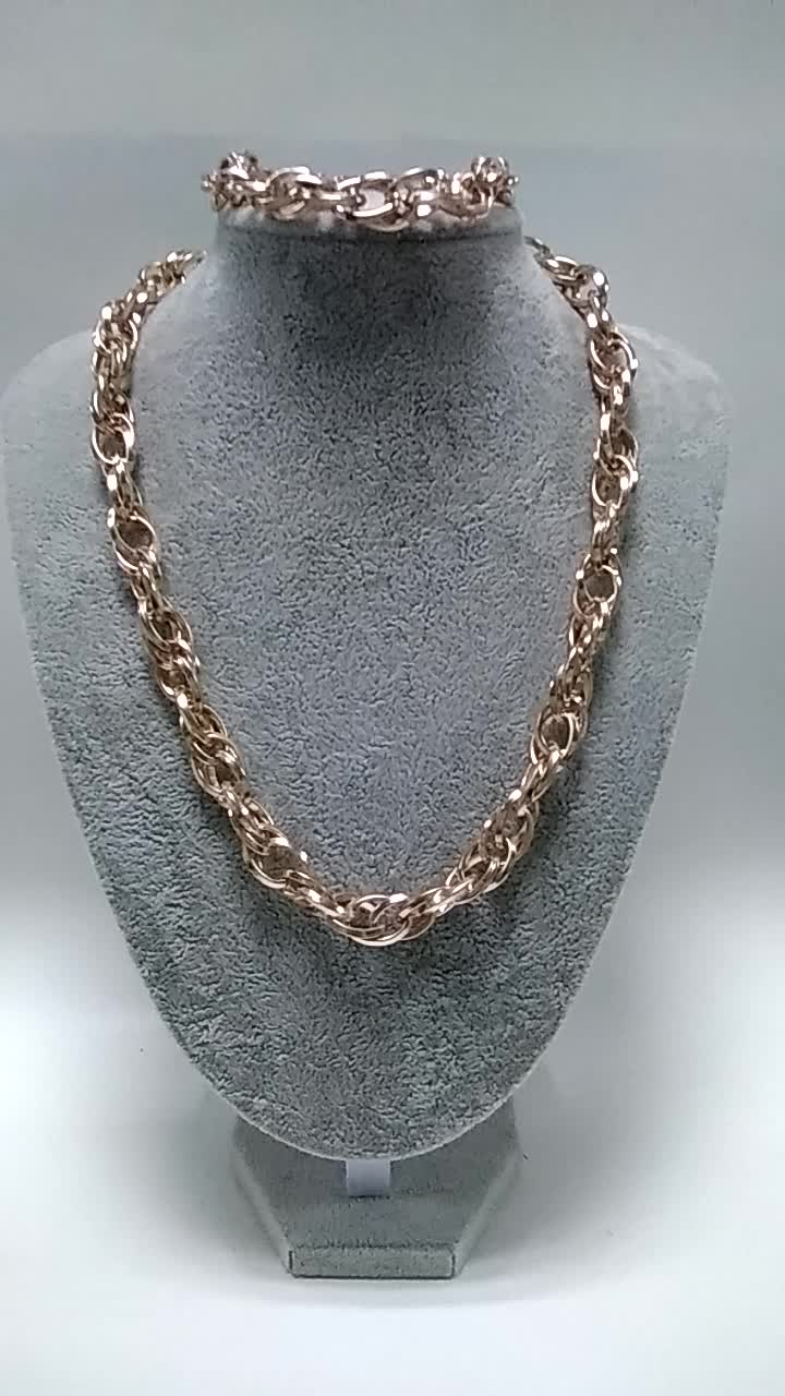 Factory direct fashion chunky rose gold twisted chain necklace for women