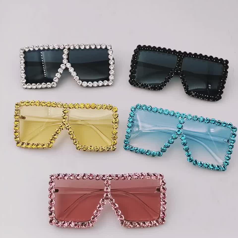 CE Marque concepteur Surdimensionné Strass Lunettes De Soleil Femmes Grand Temple Bling Pierres 2019 Mode Nuances UV400 Lunettes Oculos