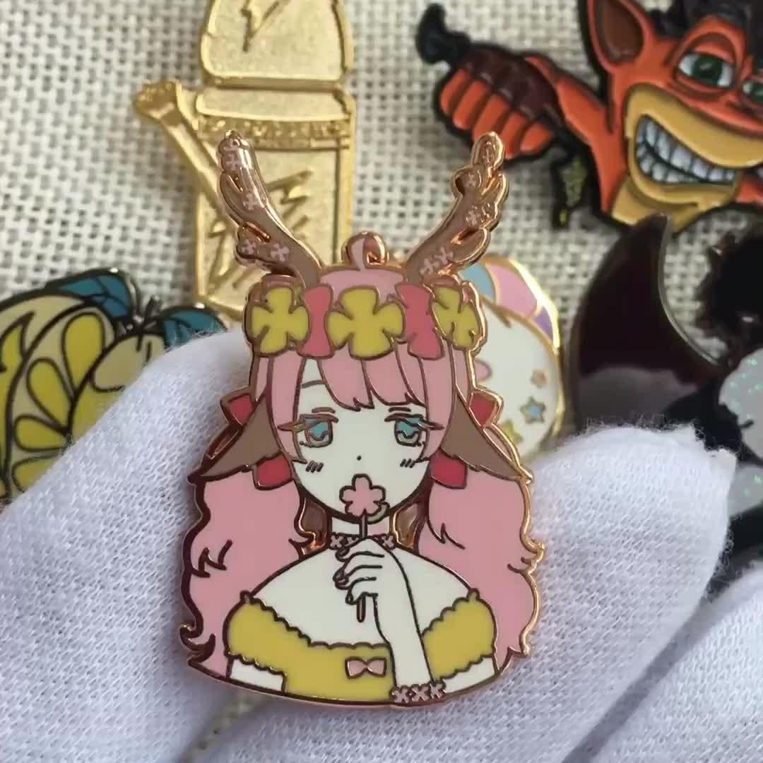 Grosir Kartun Anime Logam Lencana Kerah Pin Berlapis Emas Keras Enamel Pin Kustom
