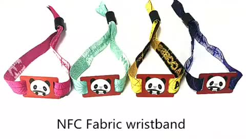 ISO15693 colorful printing bracelet I code sli x woven festival fabrics wristbands for one time use