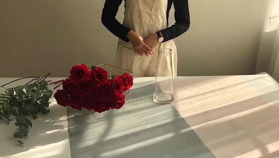 Silk red rose artificial flower for wedding decor