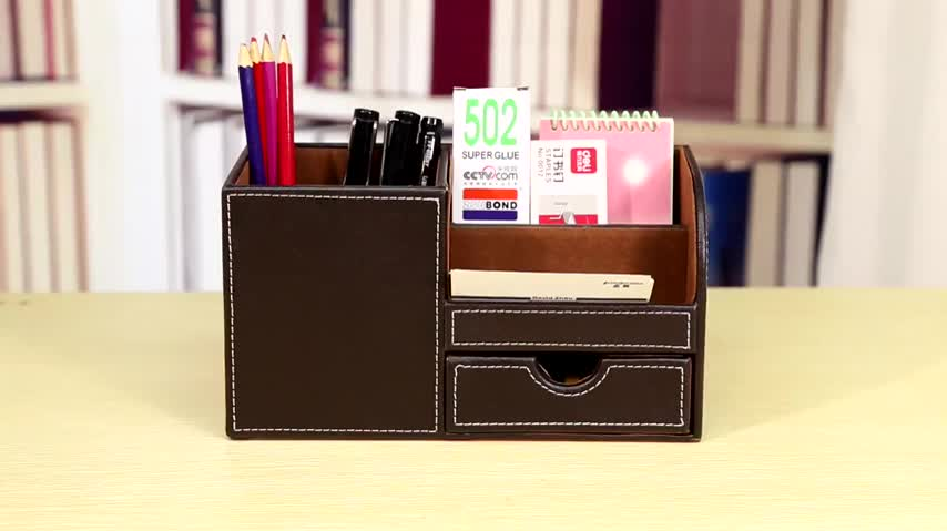 Hot selling Custom Handmade Rolling Top PU Leather Office Desktop Stationery