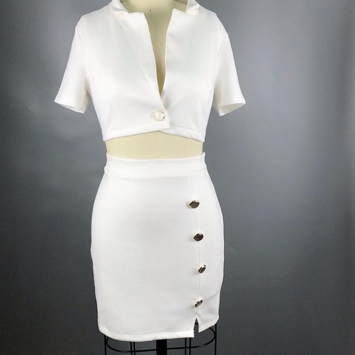 2019 vrouwen kleding 2 stuk sets knop front mini sexy jurk crop top en rok China groothandel