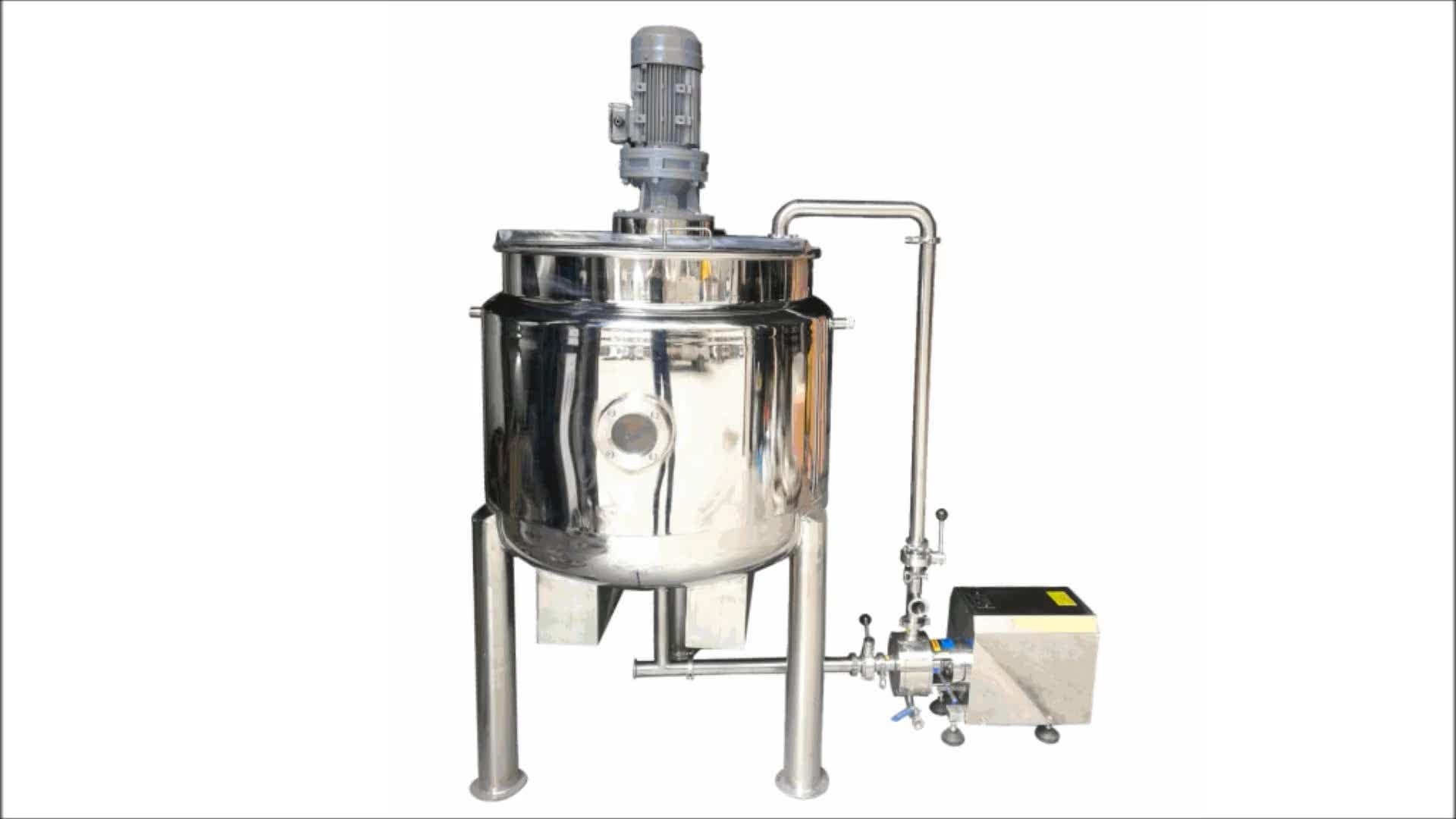 Vertical sanitary heated jacket syrups mixing tank