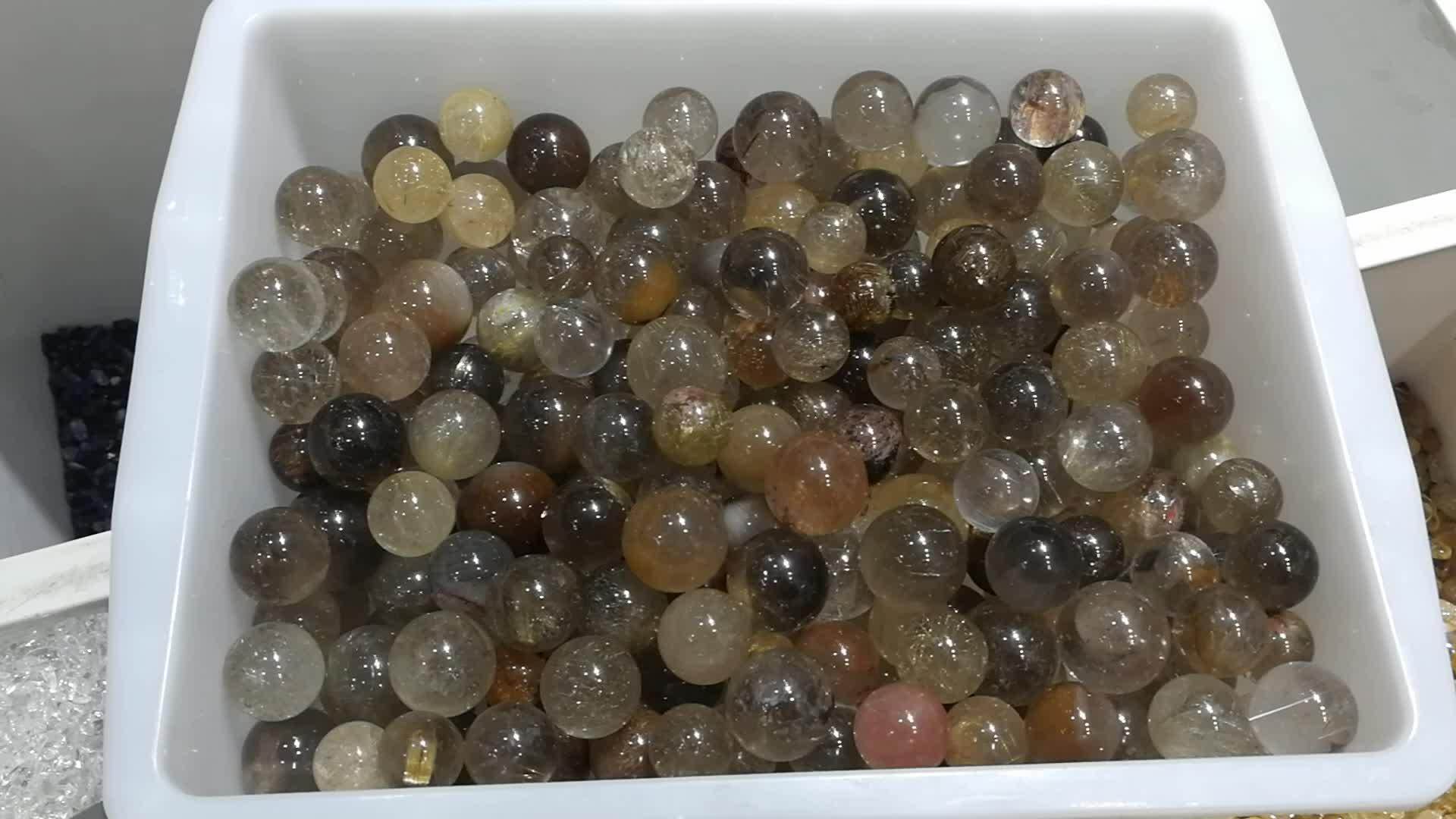 Natural Clear Gold Hair Rutilated Crystal Ball Sphere Quartz Specimen