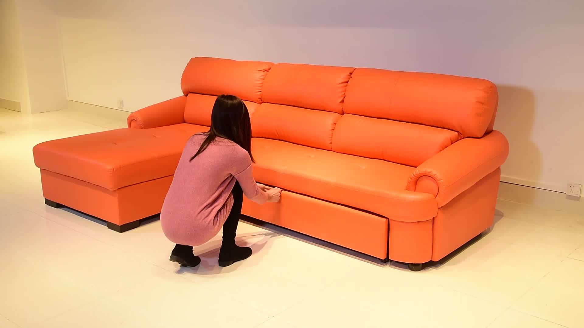 Modern Living Room Ragazzo Pigro Divano Reclinabile Letto Cum Trasformatore Struttura In Metallo In Pelle Sezionale Divano Letto