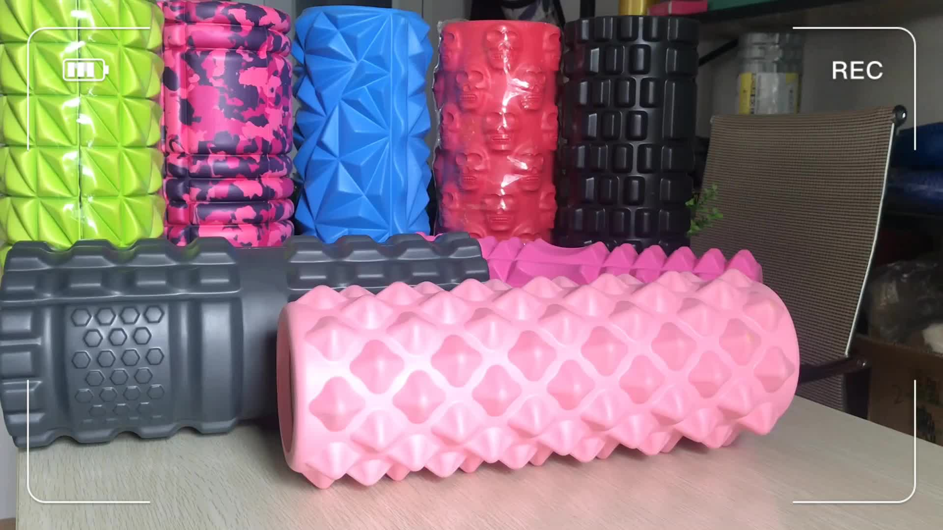 Custom color EVA Yoga Massage spiky pink Foam Roller for Myofascial Release physiotherapy rehab exercise