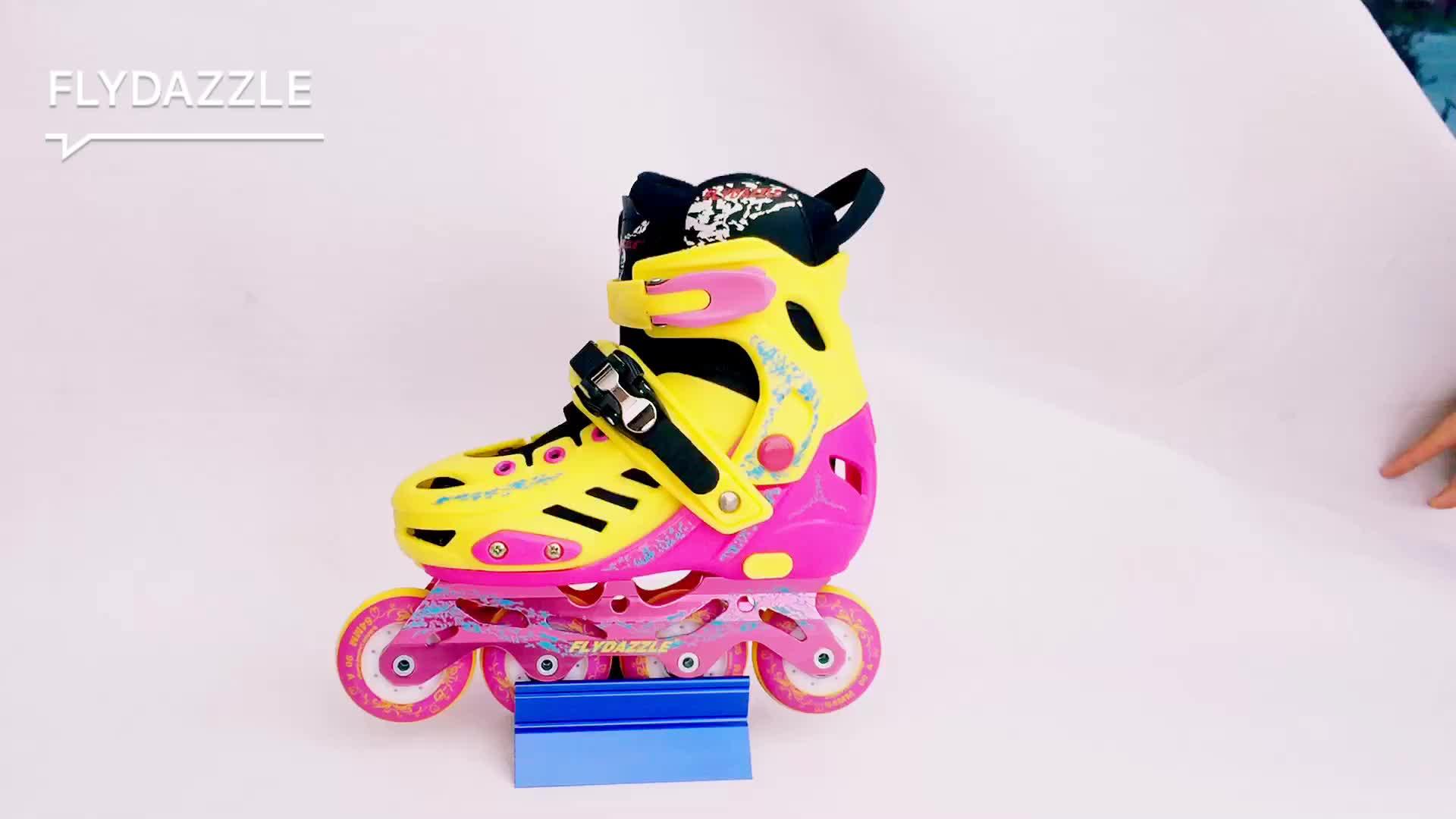 Fábrica de atacado bota de plástico duro PP ajustável slalom patins inline crianças