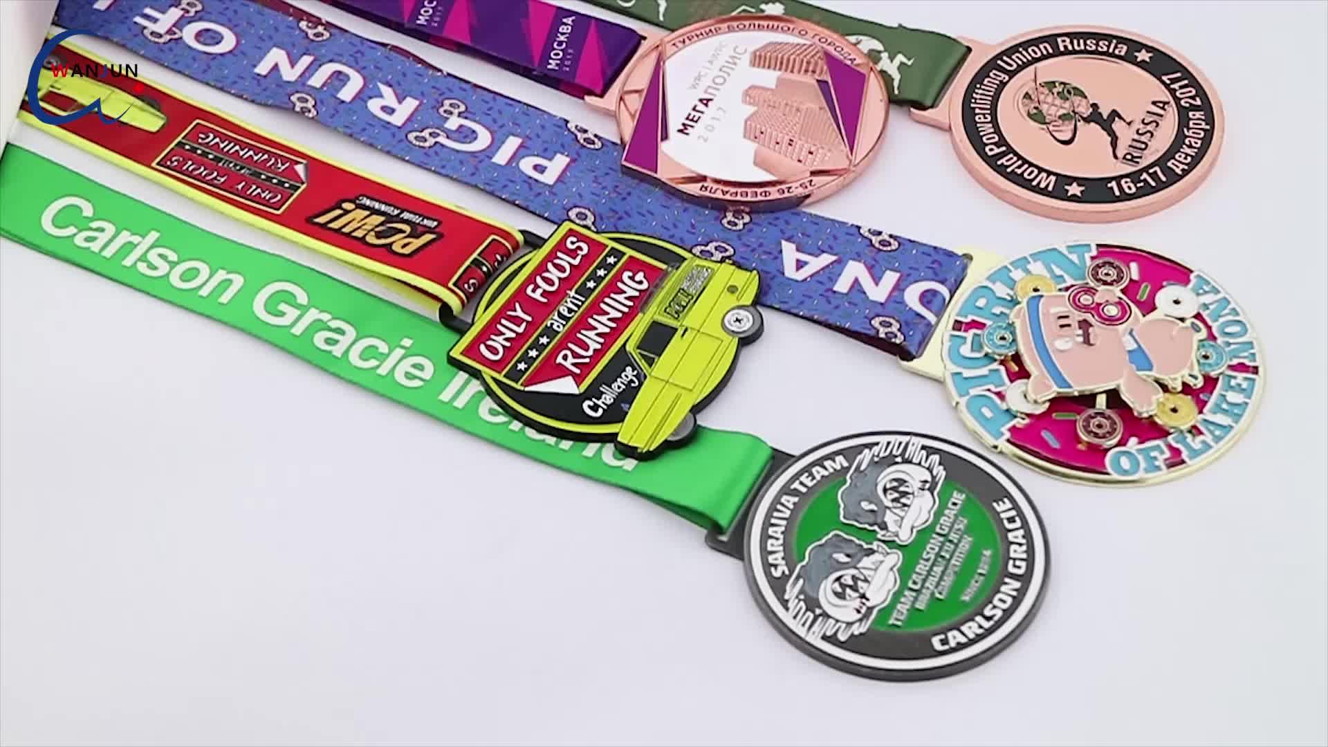 Manufacturer Wholesale Cheap Custom Design Your Own logo Blank  3D Gold Metal Award Marathon Running Sport Medal