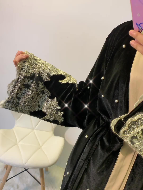 1593 # Geborduurde Bloemen Abaya Turkse Patchwork Zwarte Lange Jurk Moslim Vrouwen Abaya In Dubai