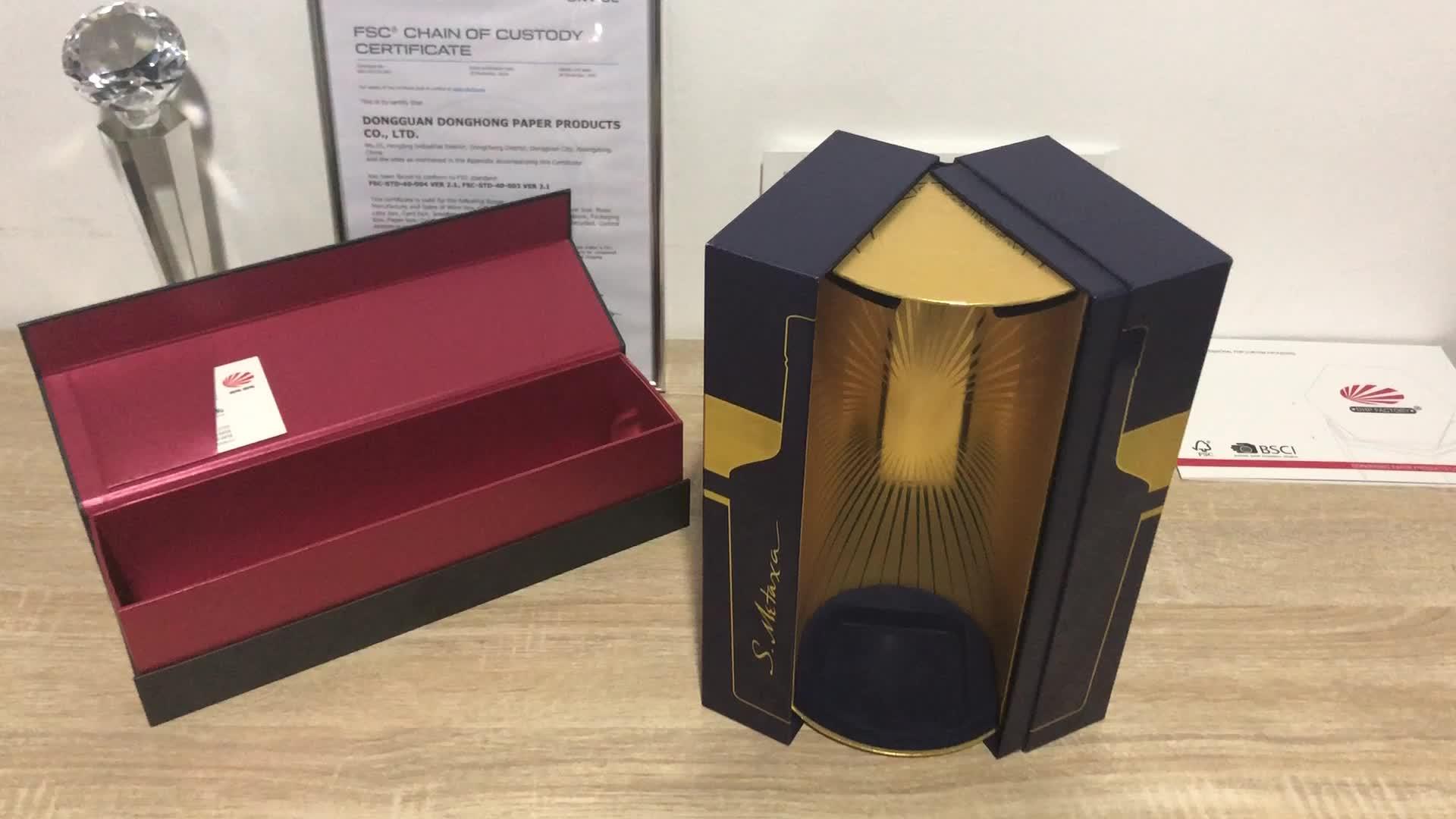 Luxe Merk Custom Shiny Interieur Kartonnen Papier Glas Fles Wijn Verpakking Dozen