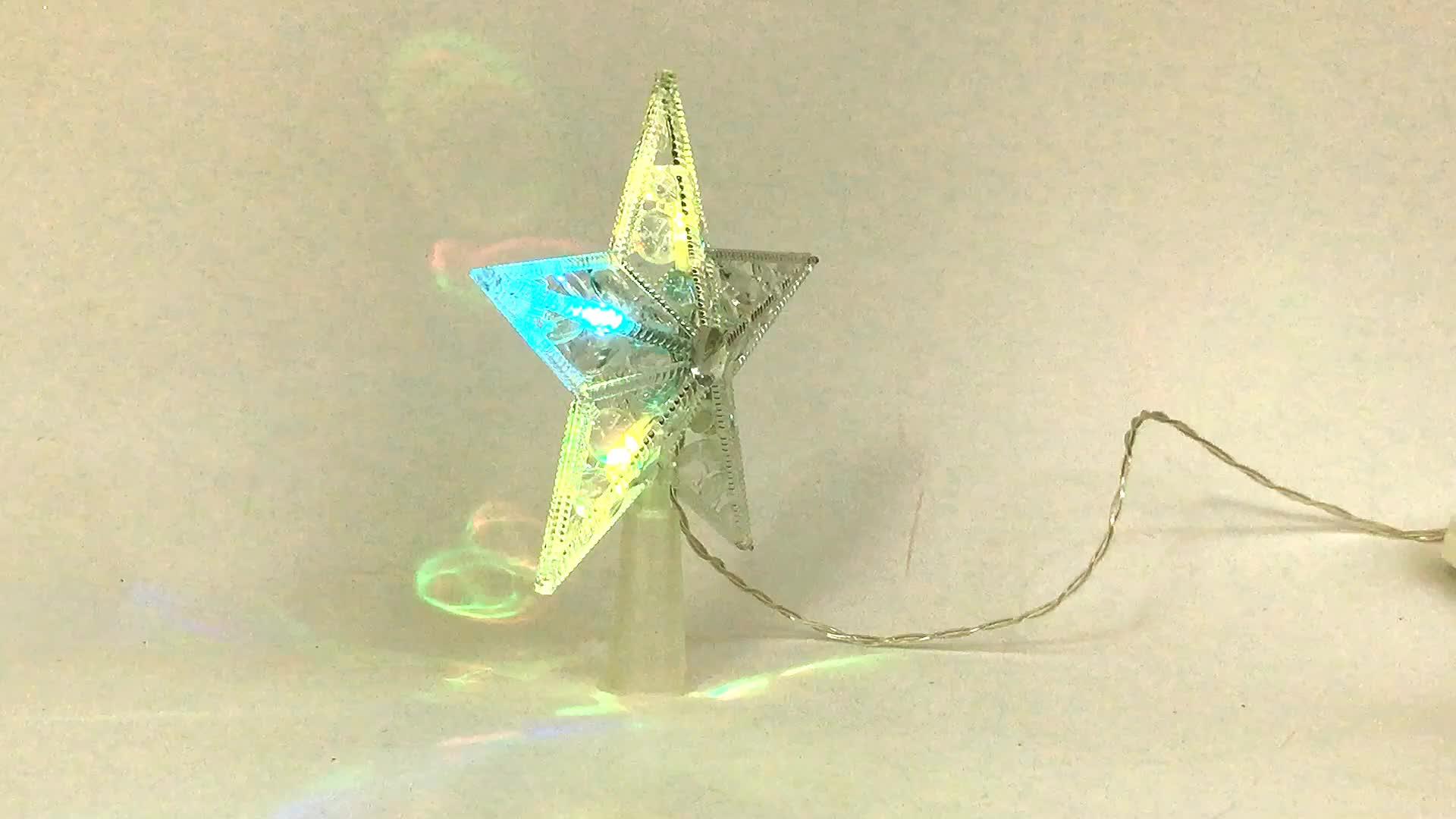Kerst Decoratieve 5.5in Rgb Kleur Veranderende Led Ster Boom Top