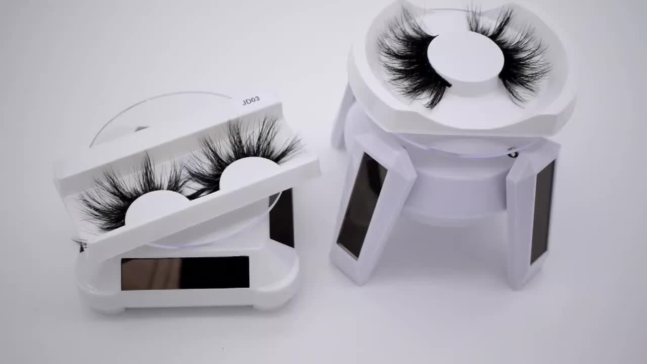 ฟรีตัวอย่างกาวหนาถือ Mink 25 มม.Handmade 3d Mink Eyelashes