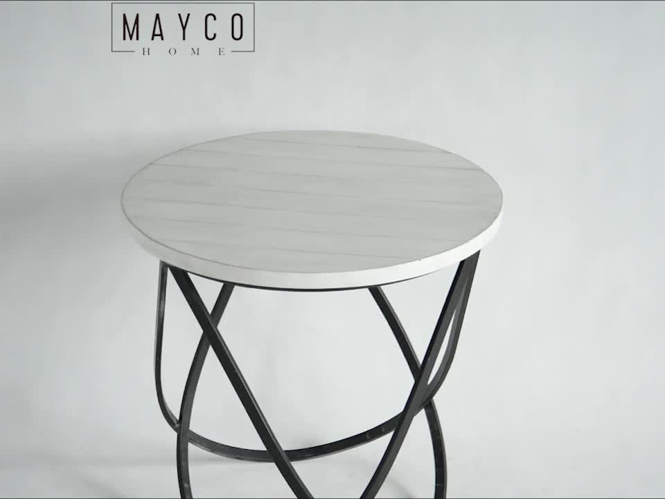Mayco New Model Fancy Industry Style Modern Cheap Round Coffee Table Metal with Storage Shelf