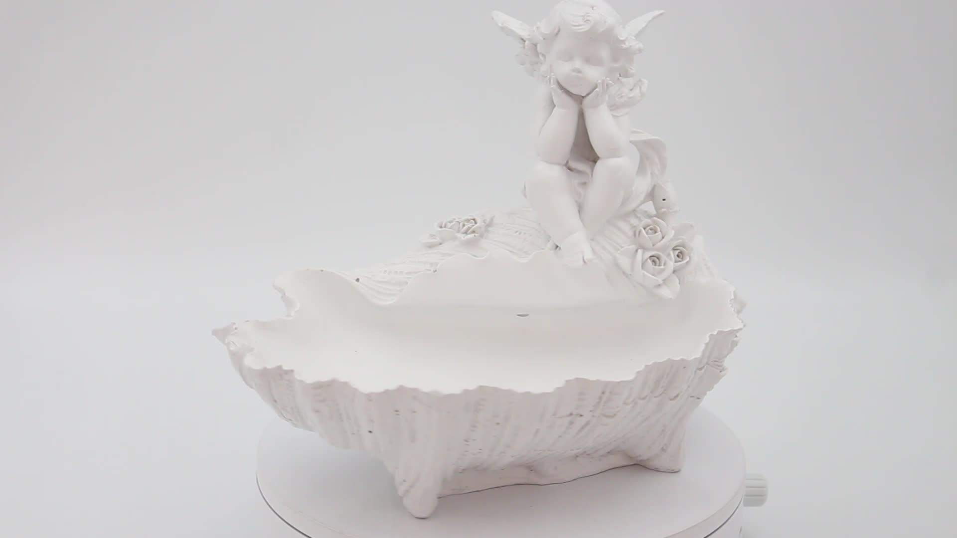 65mm hete verkoop hars craft wit stand angel polyresin base glas sneeuwbol