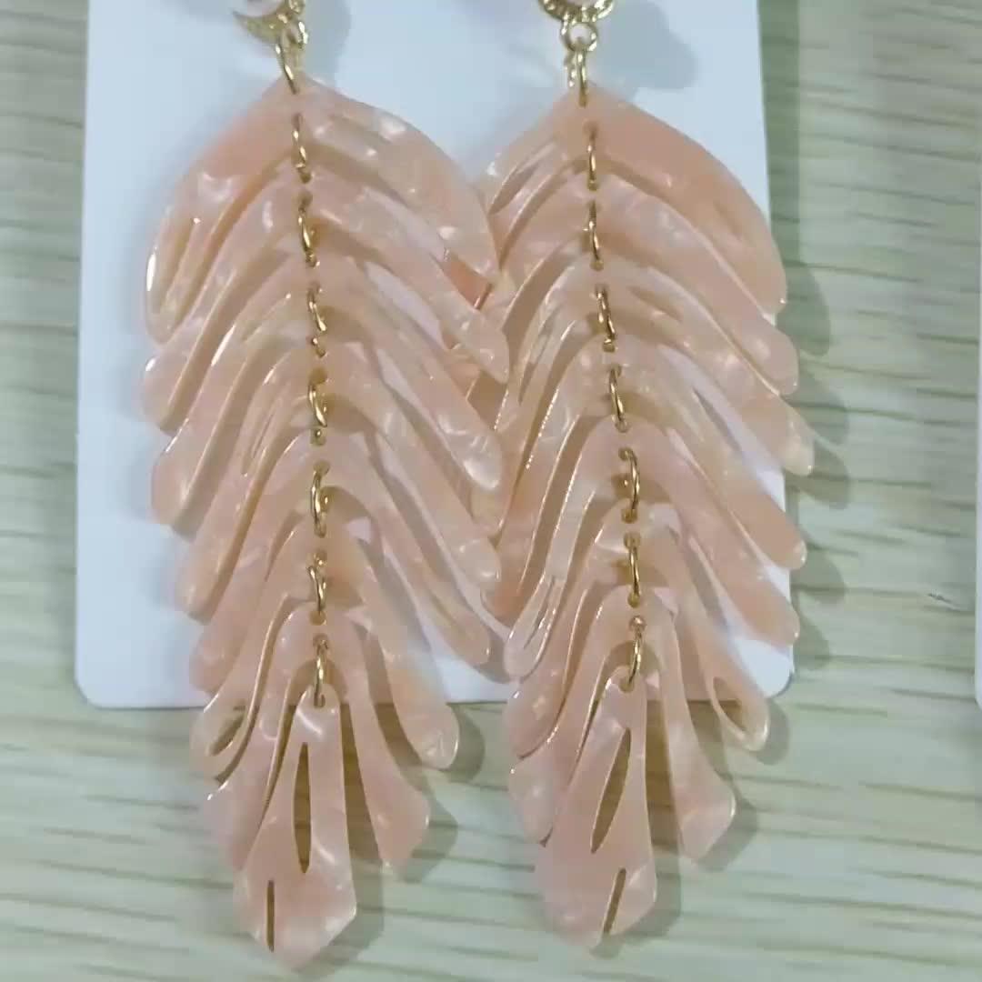 Korean Style Simple Wild Resin Earrings Jewelry Net Red Retro Light Luxury Hot Summer Acrylic Plam Leaf Drop Earrings