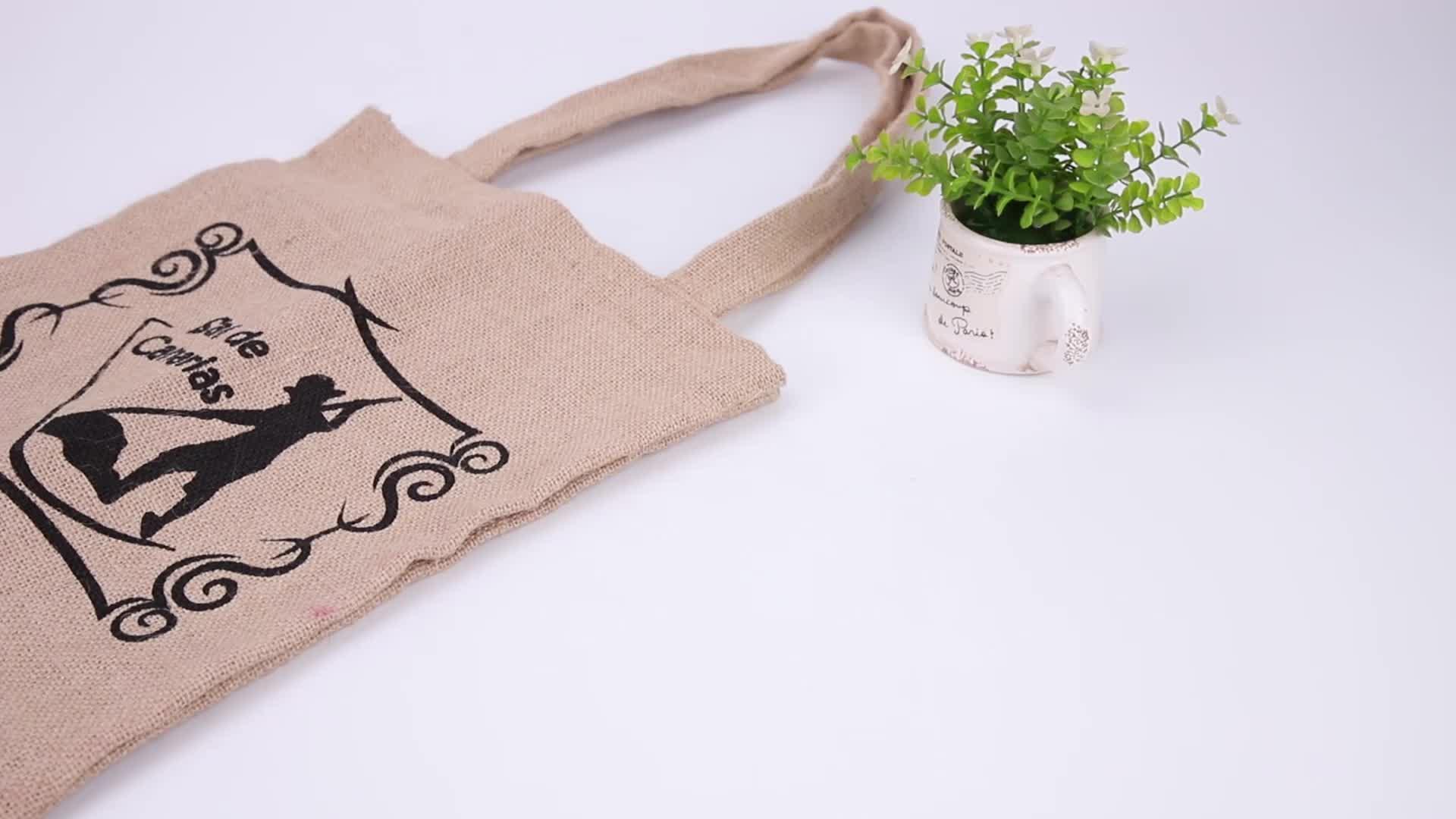 Personalizzato stampato il logo della società di Tela di Iuta di acquisto della tela di Iuta borse della spesa riutilizzabili di Iuta tote