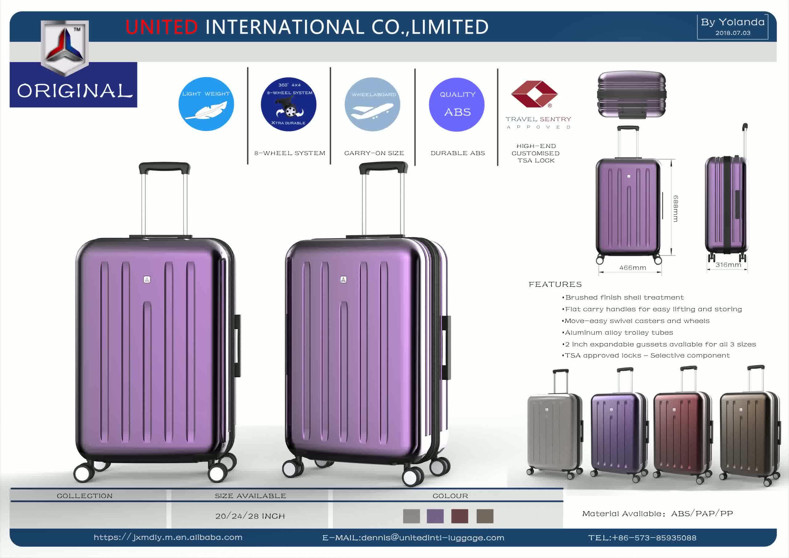Offre Spéciale ABS PC 4 Roues Spinner Bagages Bagages Chariot 3 pcs Sacs de Voyage Bagages