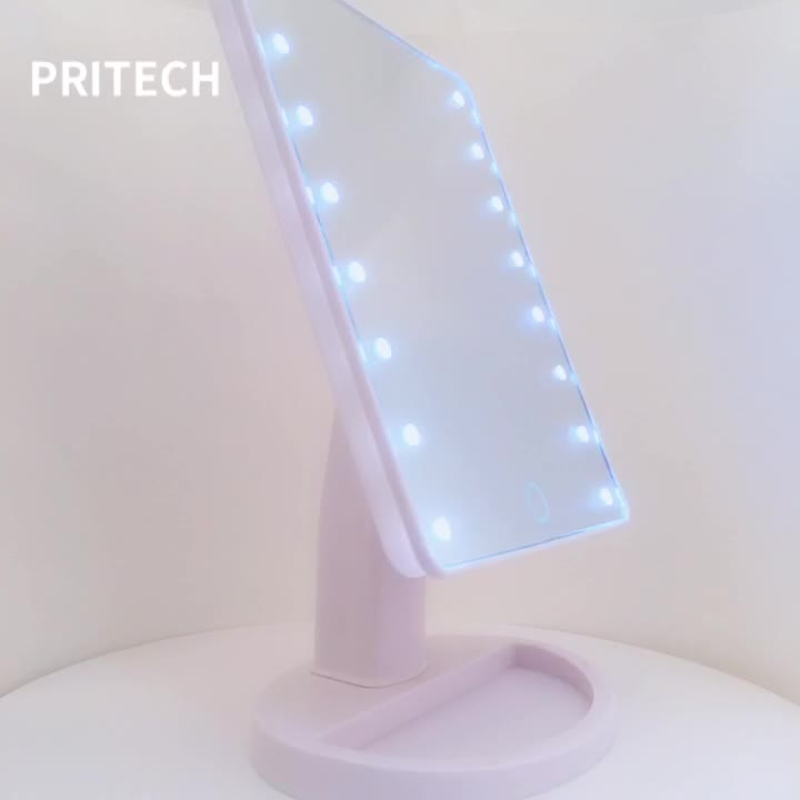 PRITECH Beauty Care Cheap Price Desk Standing Cosmetic Mirror With LED Light