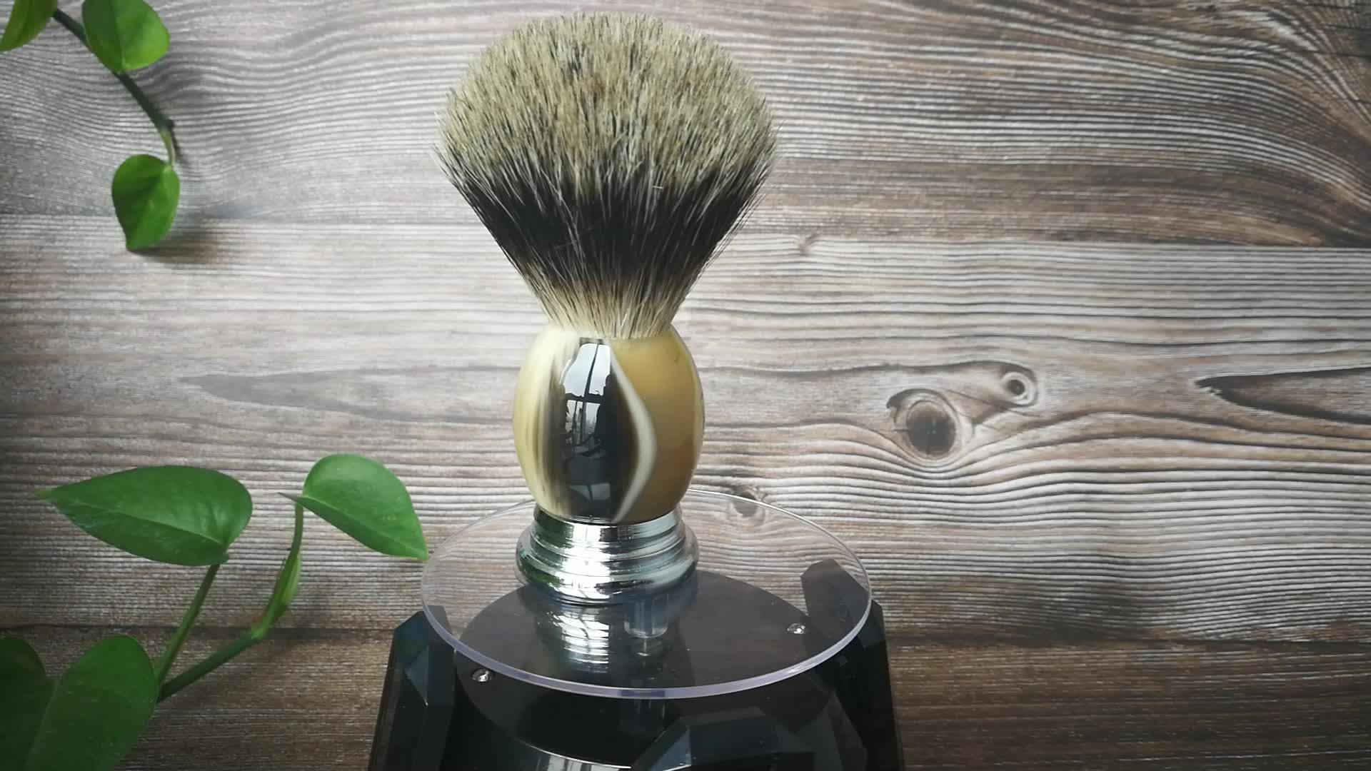 2019 new design custom logo pure badger metal shaving brushes
