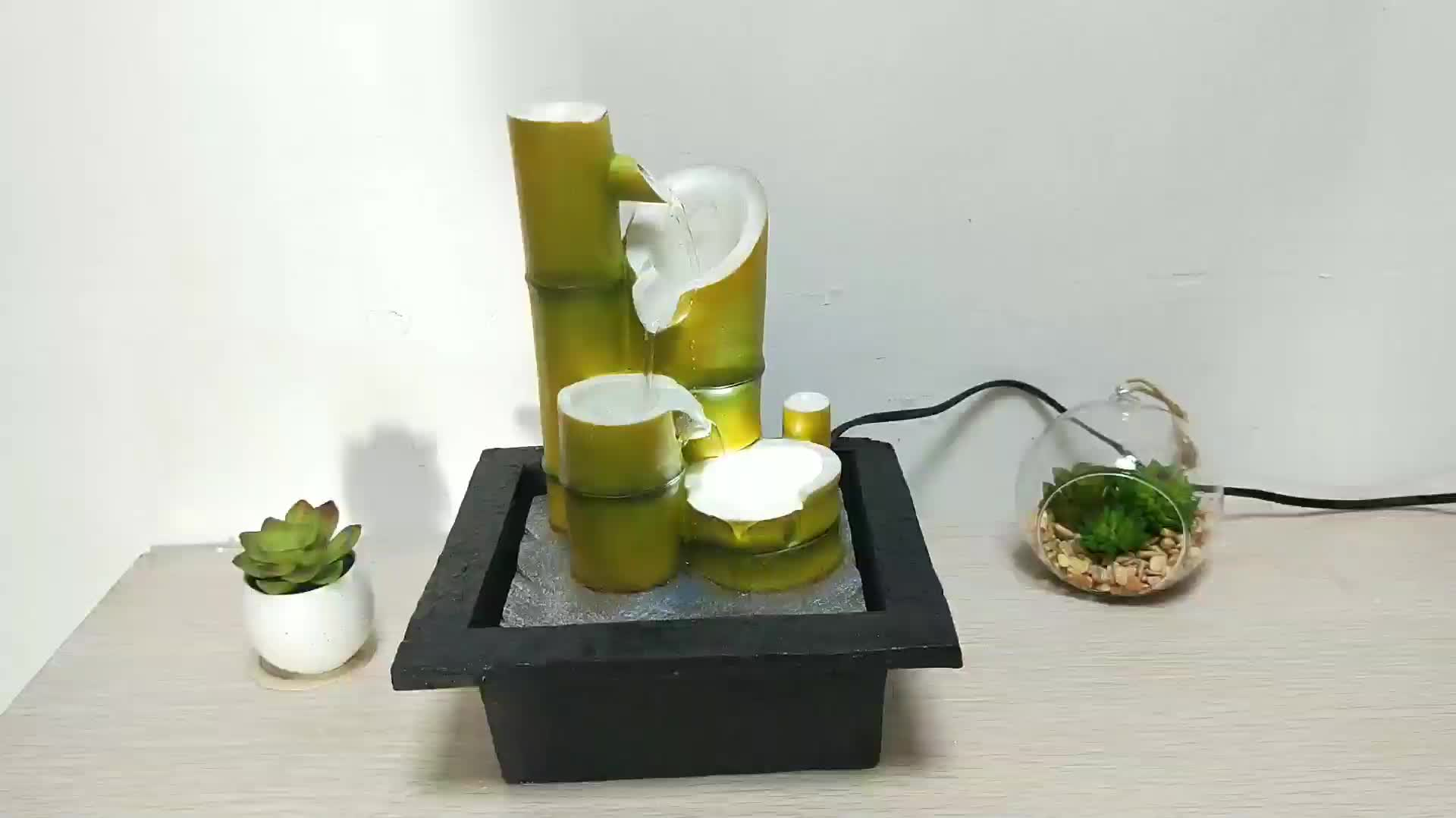 Fountain For Home Decoration: Indoor Fengshui Bamboo Water Fountain Resin Crafts Home