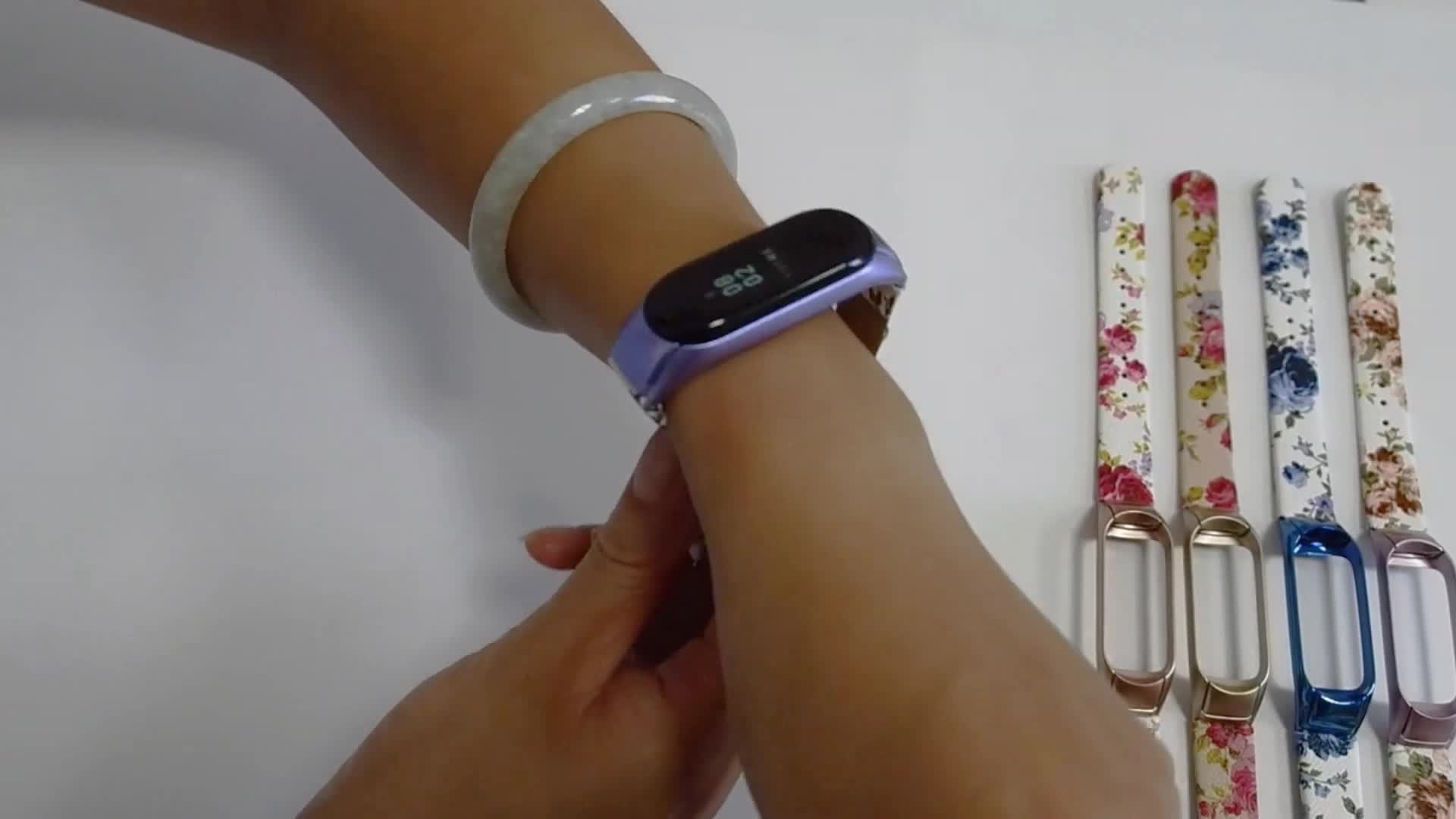 LIMITED EDITION 43012 flower series chinese style smoke purple color leather watch strap for xiaomi mi band 4 and 3