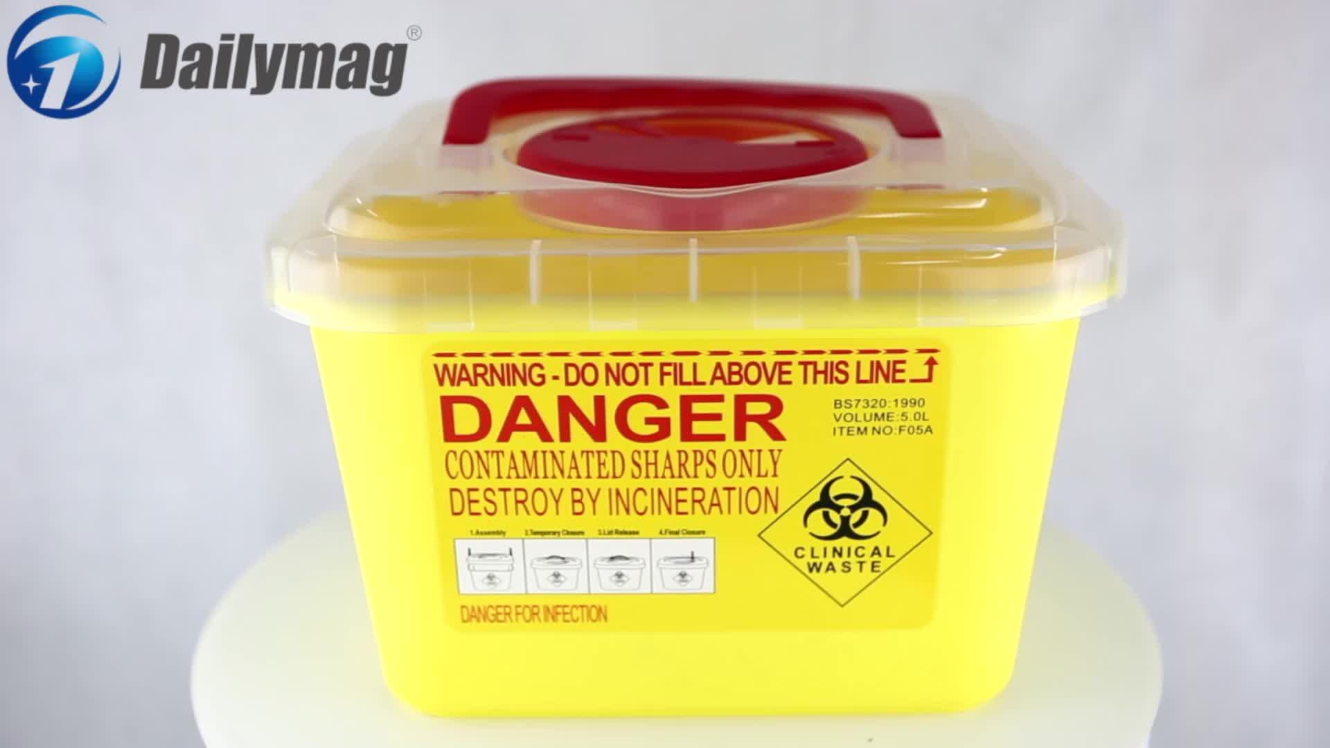 FDA Approval Hospital Use 5L Transparent Lid Plastic Medical Safety Box For Syringes