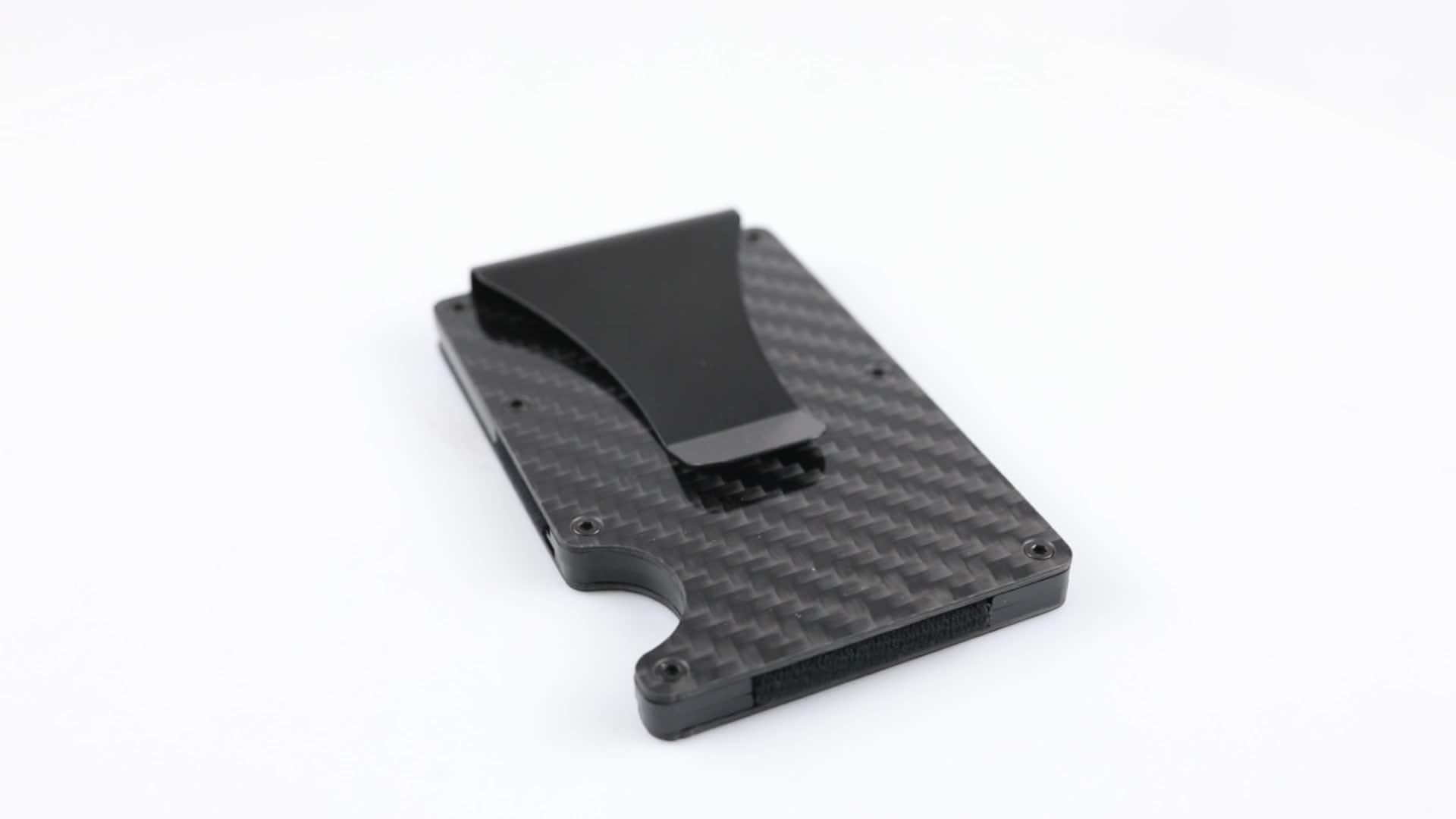 Fibra de carbono Delgado RFID bloqueo titular de la tarjeta de crédito y dinero Clip 2 en 1 minimalista de fibra de carbono billetera dinero Clip