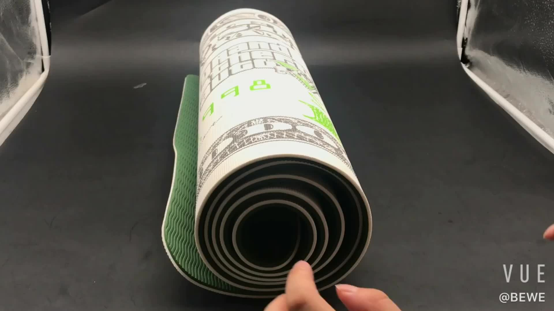 BEWE Fascinerende Dollar Patroon Milieuvriendelijke Hoge Dichtheid Zachte Anti-Slip TPE Yoga Mat