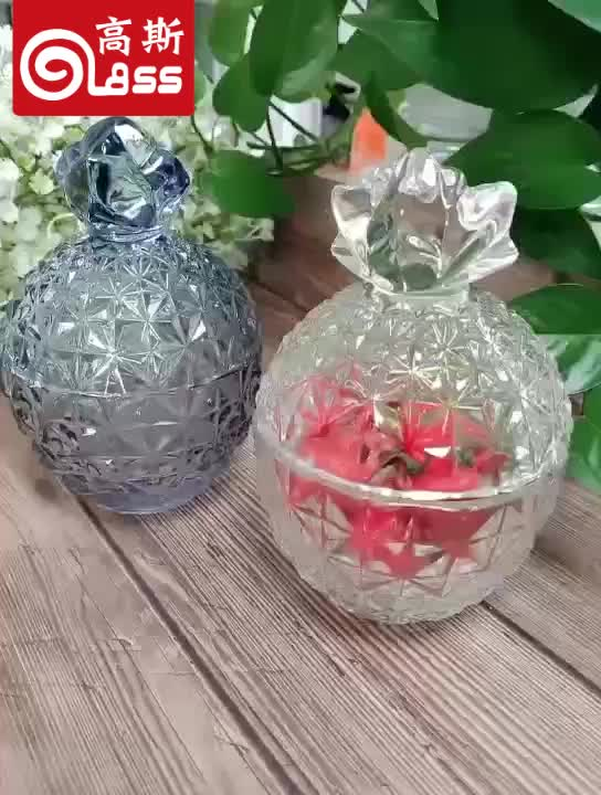 New Design Crystal Pineapple Shaped glass candy jars candy box with lid