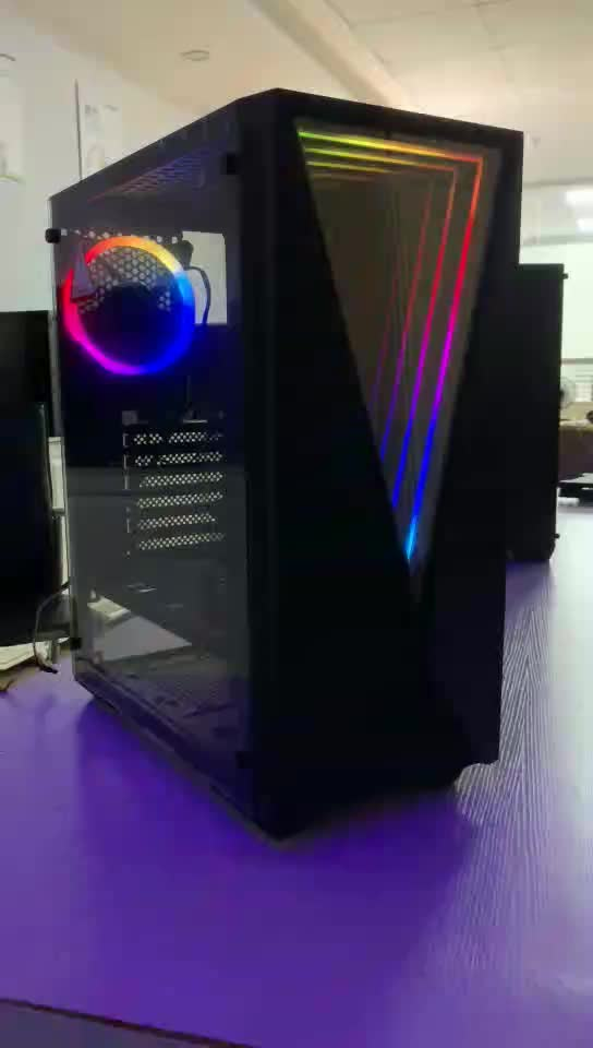 2020 Newest High Quality Gaming Computer Case With LED Strip ATX  RGB PC Case Gaming CPU Case Desktop