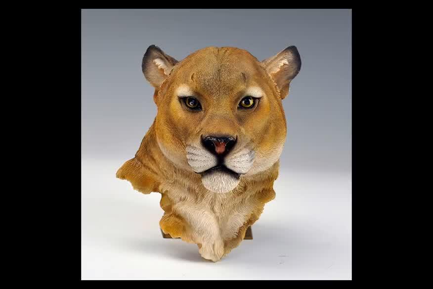 2019 Em Estoque Real Olhar Fixado Na Parede Pendurado Poli Resina Urso Leão Lobo Animal do Leopardo Cabeça Do Tigre Estátua Casa Escritório decorações