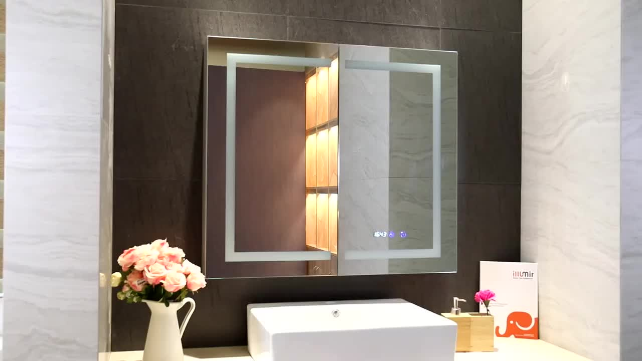 New Design (gorilla Glass) Shelved Mirror 캐비닛 Surface 실장 (smd, smt 백라이트 Mirror 약 장 욕실 캐비닛 Mirror 와 빛