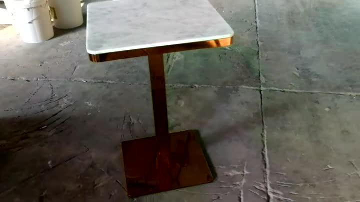 Metal frame small square coffee dining table marble