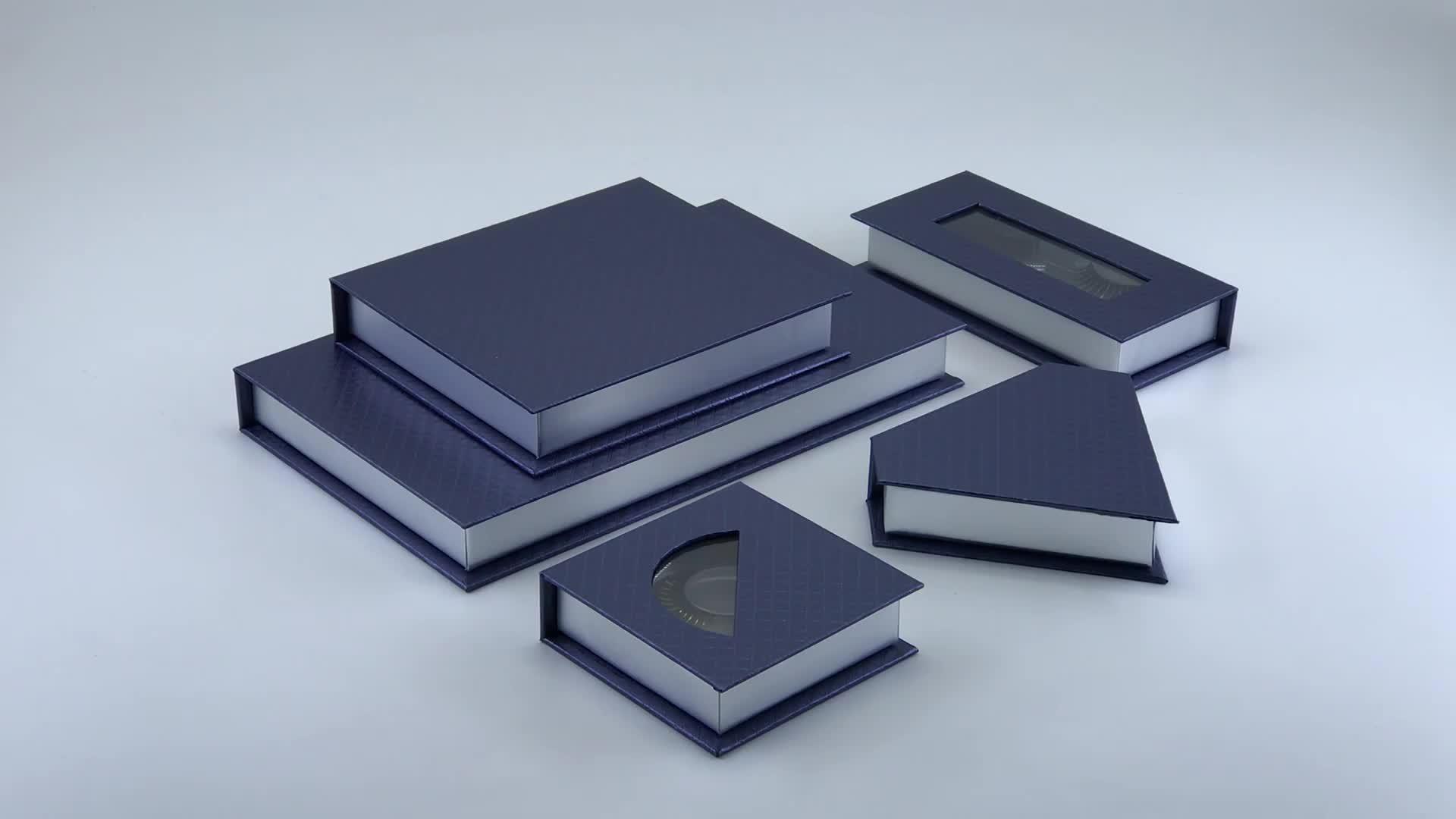 custom luxury blue small book shape box cardboard box with clear pvc window for eyelash packaging box