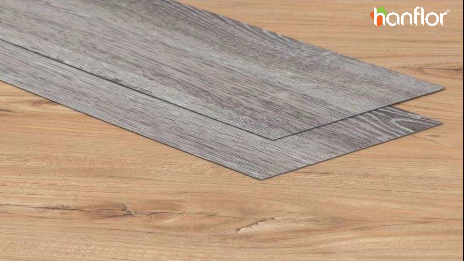 Nature wood grain vinyl plank floor DIY glue down pvc floor