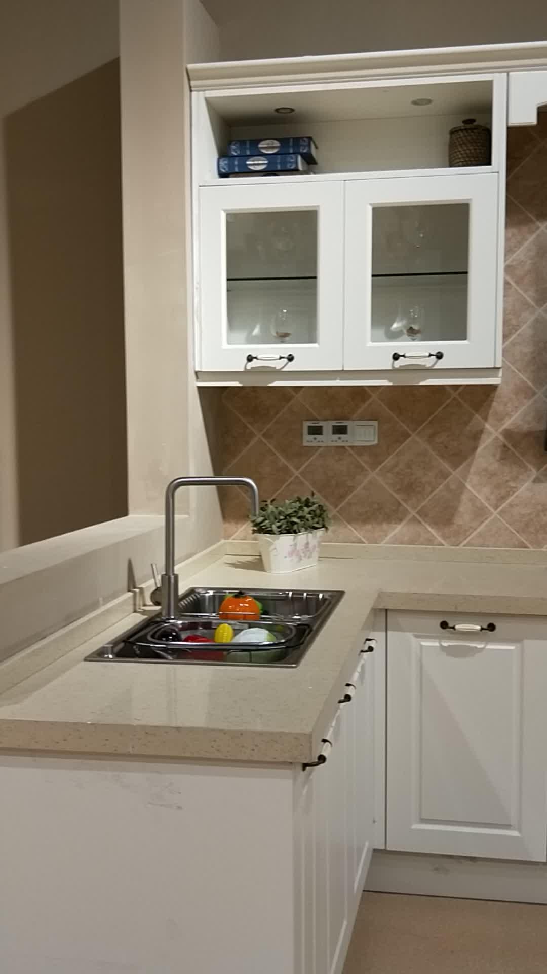 Pure White Lacquer Shaker Design Wood Kitchen Cabinet ...