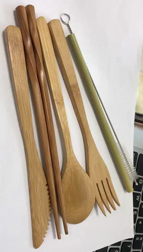 100% Organic Bamboo Premium Travel Cutlery Set /  Bamboo Straw Portable & For Traveling Bamboo Utensil Set in Slim Travel Pouch