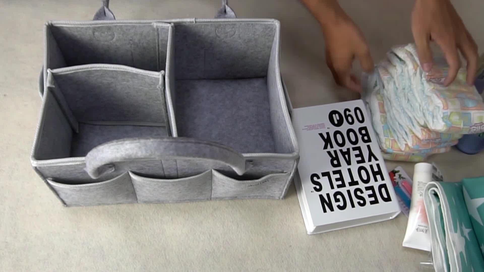 OEM high quality free sample tote land felt diaper bag for baby