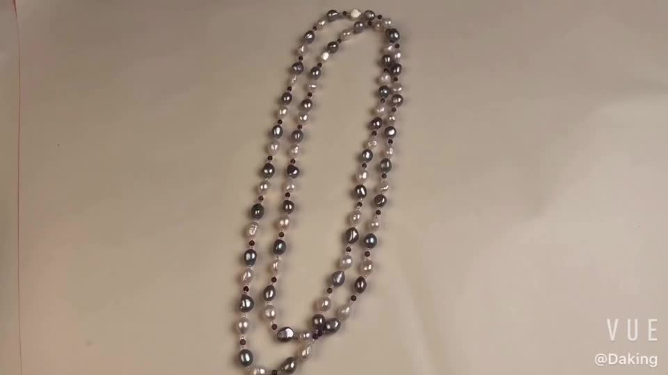 Baroque Pearl Amethyst Beaded Long Necklace