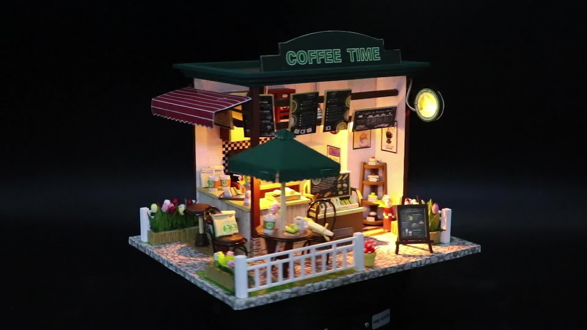 Nouveaux jouets de collection miniature maison café en bois jouets