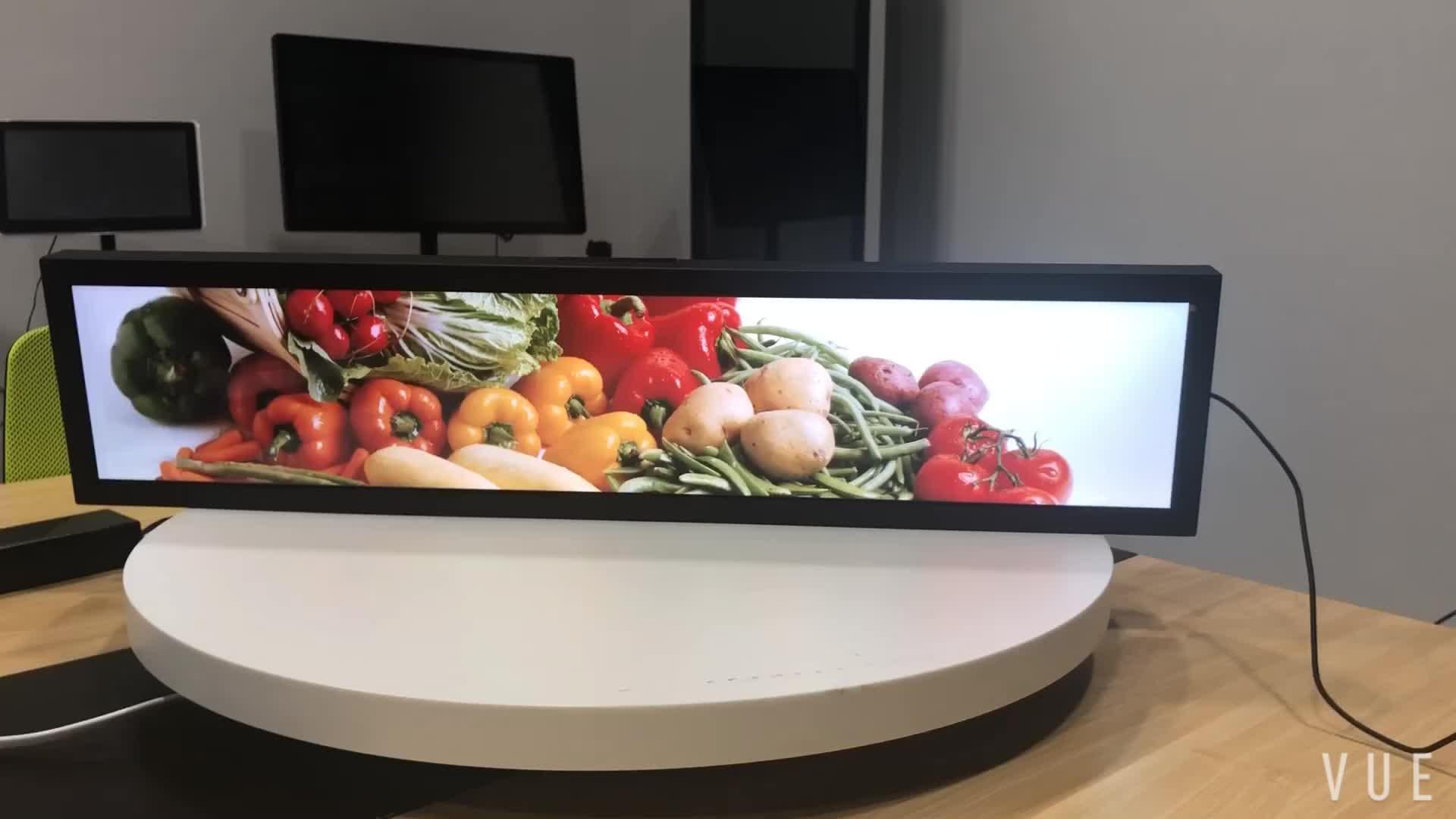 24 zoll demo gestreckt bar typ bildschirm digital signage regal rand LCD display für einzelhandel shop