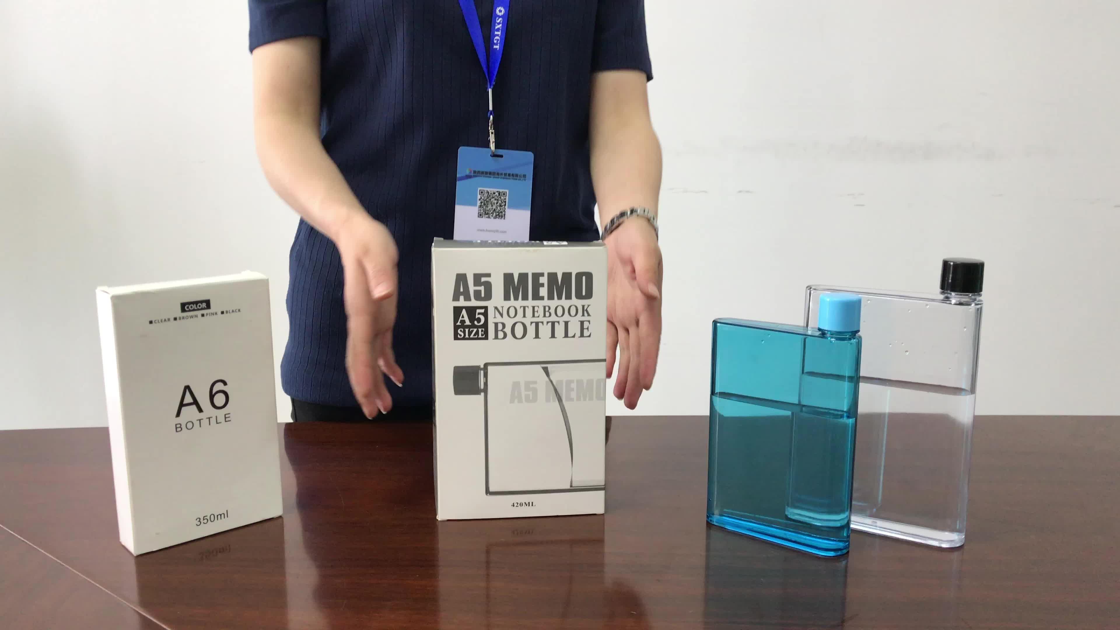 تعزيز مربع A5 دفتر مذكرة زجاجة ماء بلاستيكية مسطحة مع شعار مخصص