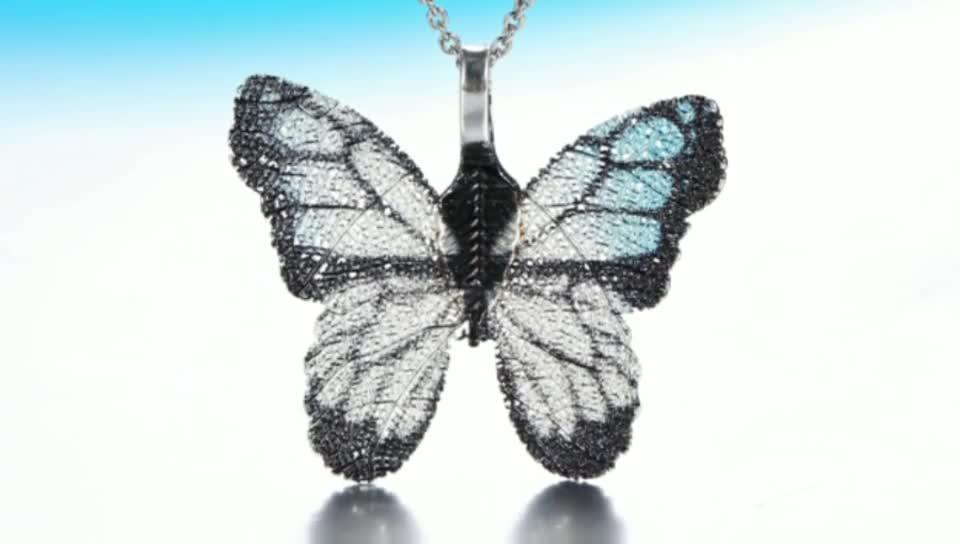 Zhefan Leaf pattern jewelry nature leaf butterfly jewelry pendant butterfly necklace for girl