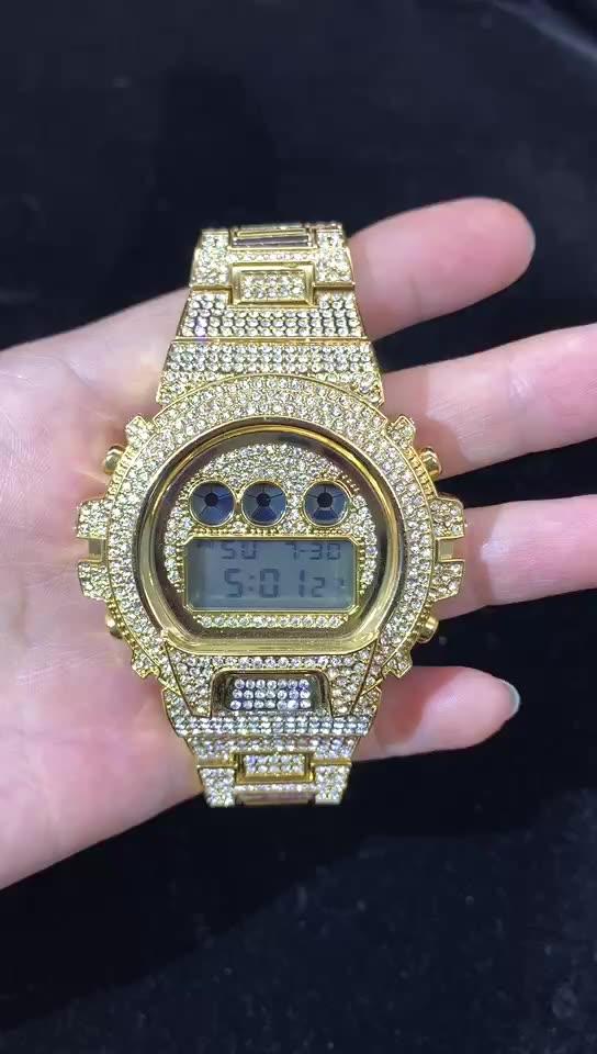 นาฬิกาข้อมือบลูส์ RTS ฮิปฮอปดิจิตอลสุดหรู LED 18K สีทองสำหรับผู้ชาย