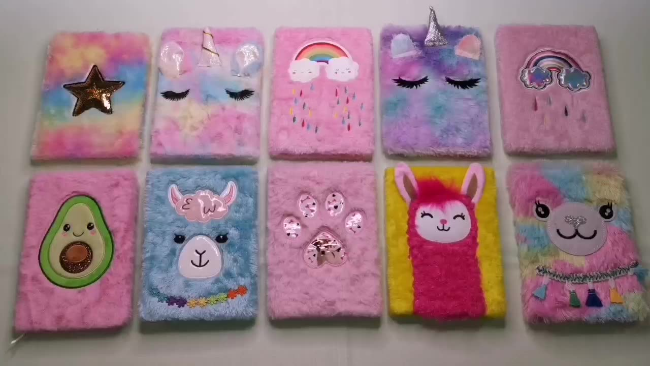Llama A5 80 Sheets Furry Writing Paper Notebook Plush Journal  For Gift