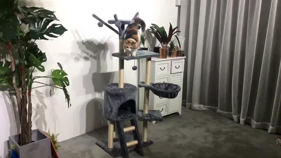 Chất lượng cao lớn bằng gỗ scratch leo tháp thời trang diy deluxe có thể gập lại sang trọng sisal sản phẩm vật nuôi mèo cây