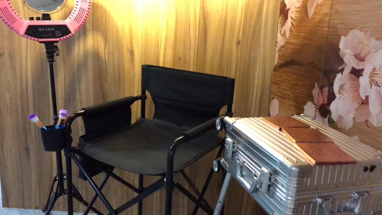 Onwaysports 높은 감독 의자 알루미늄 이발사 텔레스코픽 휴대용 메이크업 아티스트 의자