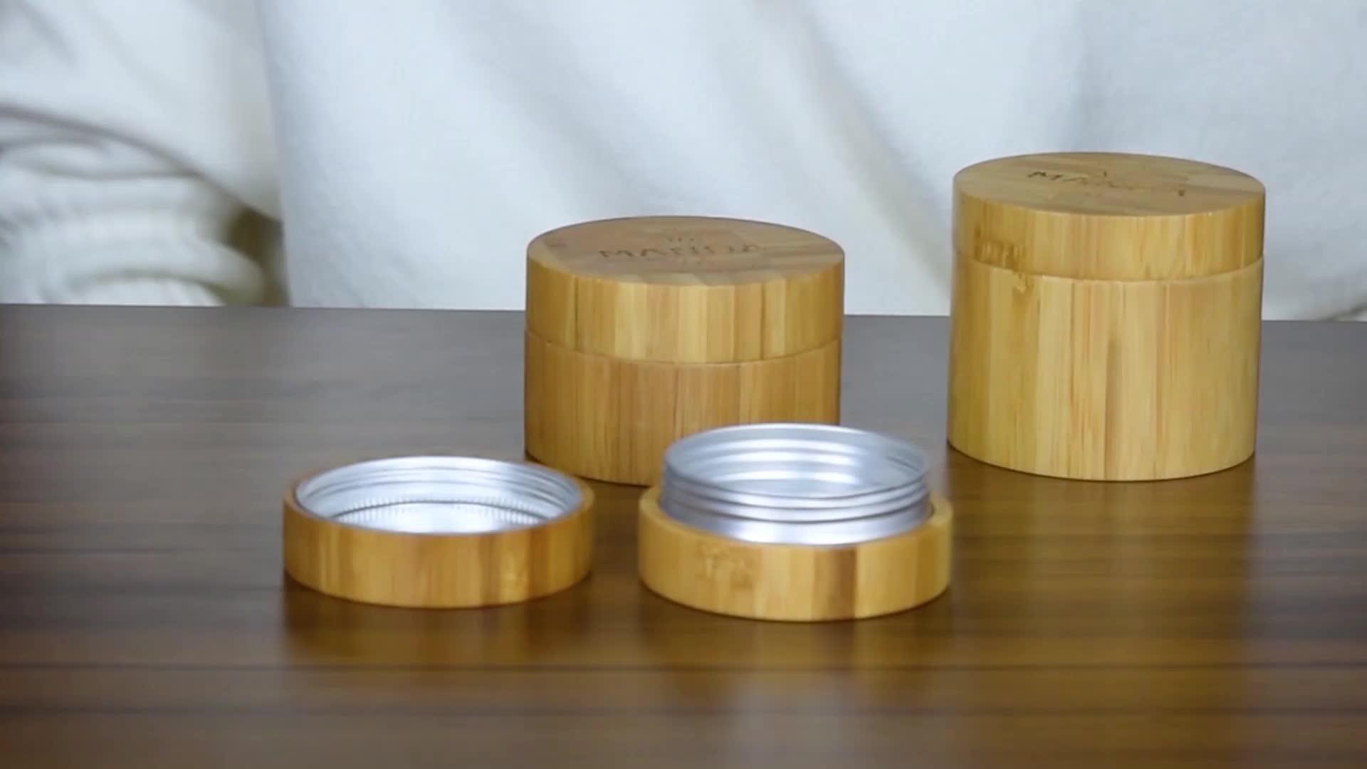 Embalagem cosmética de bambu 30g jarro de bambu de bambu frasco de bambu bálsamo labial